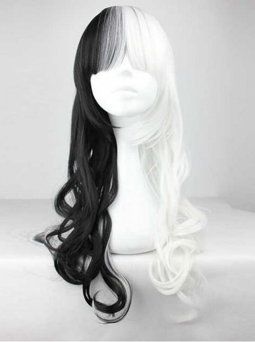 Half Black Half White Harajuku Style Long Curly Hair Cosplay Lolita Wig