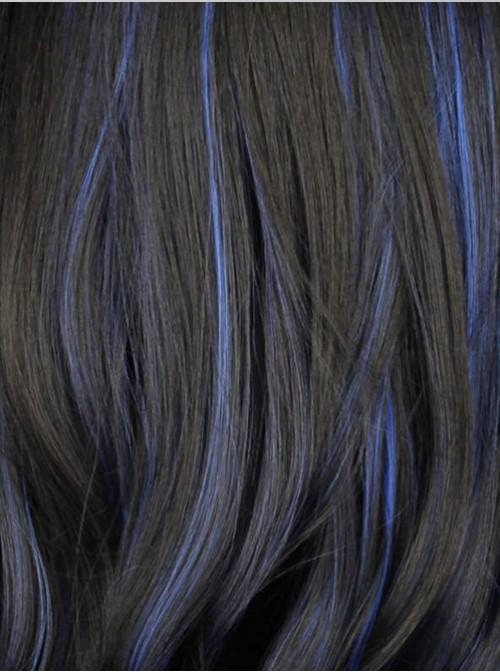 Black Highlights Blue Long Wavy Curly Hair Cosplay Lolita Wig