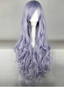 Slanted-bangs Purple Long Curly Hair Cosplay Wig