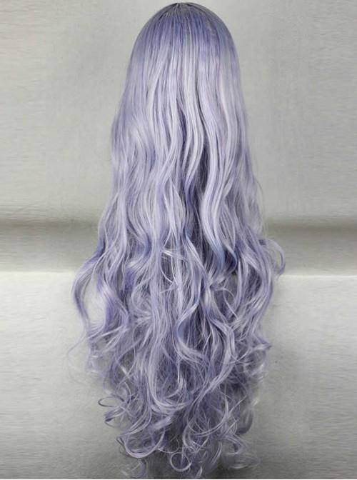 Slanted-bangs Purple Long Curly Hair Cosplay Wig