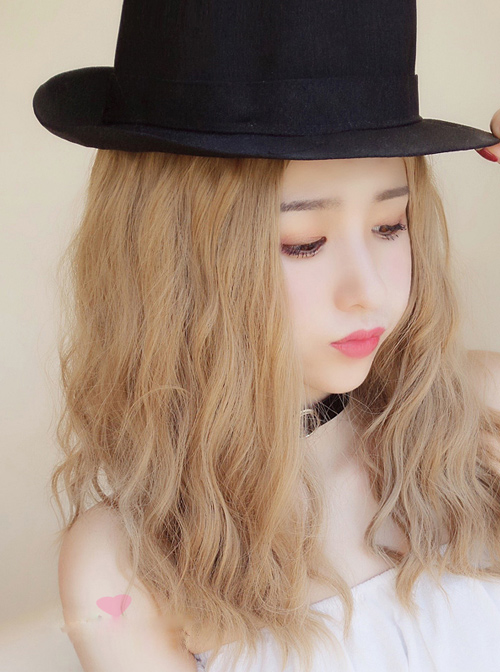 Centre Parting Long Curly Hair Lolita Flax White Gold Wig