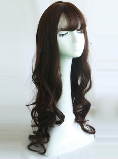 Large Wavy Air-bangs Long Curly Hair Lolita Wig