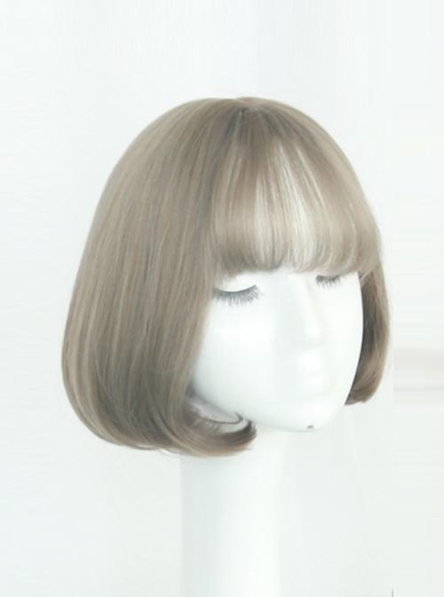 Air-bangs Internal Buckle Pear Flower Head Curly Hair Lolita Wig