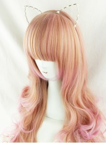Harajuku Style Pale Gold Highlights Pink Long Curled Hair Lolita Wig