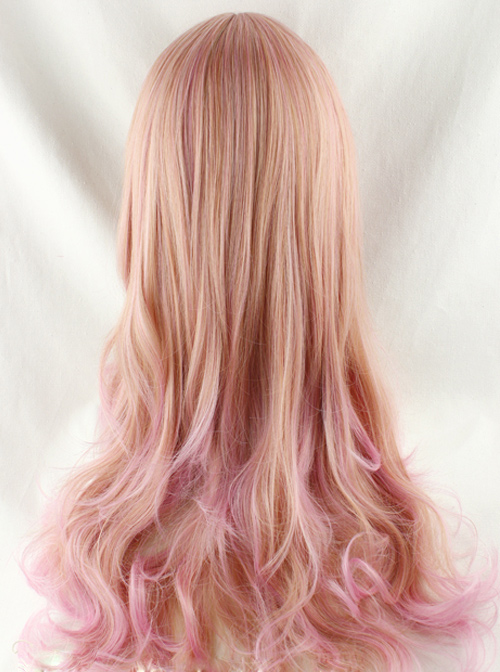 Harajuku Style Pale Gold Highlights Pink Long Curled Hair Lolita Wig