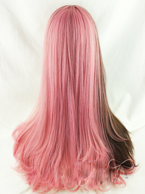 Brown And Pink Double Spelling Color Straight Hair Sweet Lolita Wigs