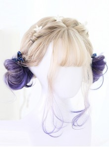 Graffiti Girl Series Gray And Purple Gradient Short Curly Hair Lolita Wig