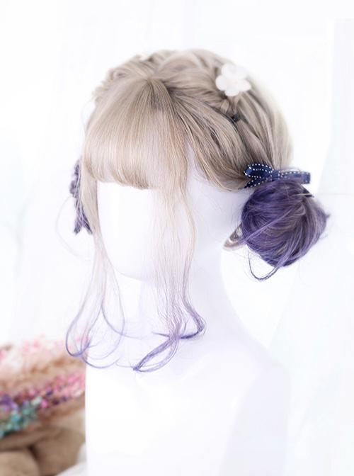 Graffiti Girl Series Gray And Purple Gradient Short Curly Hair Lolita Wig