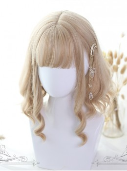 Light Gold Short Rome Curly Lolita Wig