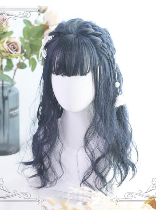 Air-bangs Small Wave Long Curly Hair Navy Blue Lolita Wig