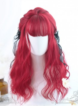 Air-bangs Small Wave Long Curly Hair Red Lolita Wig