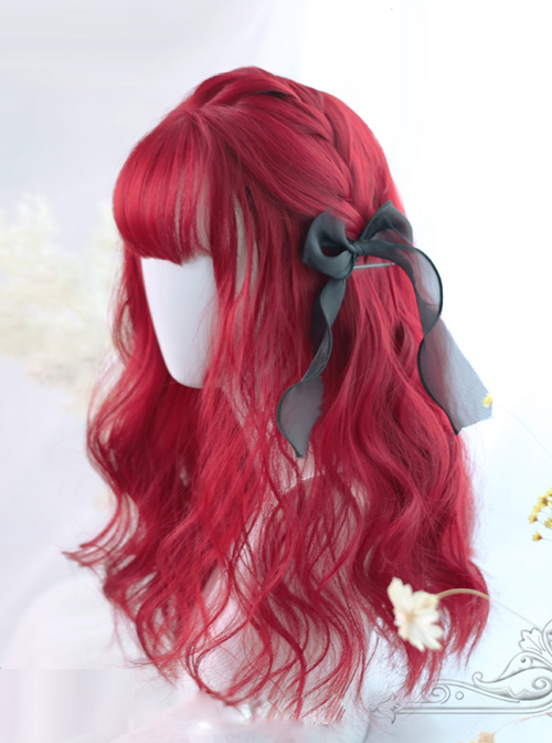 Air-bangs Small Wave Long Curly Hair Red Lolita Wig