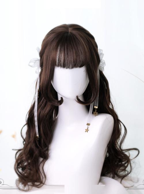 Hime Cut Inner Buckle Long Curly Hair Lolita Wig