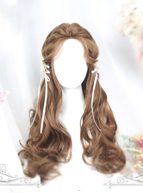 Centre Parting Honey Pudding Long Curly Hair Lolita Wig