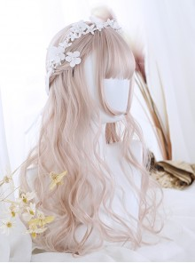 Air-bangs Hime Cut Light Pink Long Curly Hair Lolita Wig