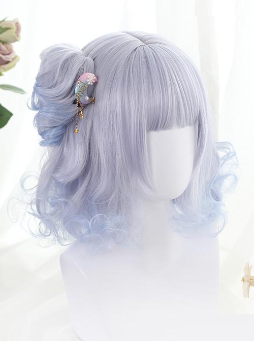 Gray-blue Short Rome Curly Hair Lolita Wig