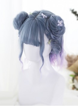 Blue Purple Pink Gradient Short Curly Hair Lolita Wig