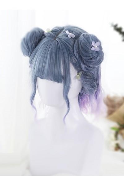 Blue Purple Pink Gradient Short Curly Hair Lolita Wig