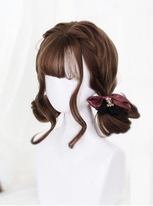 Air-bangs Cute Short Pear Flower Roll Brown Lolita Wig