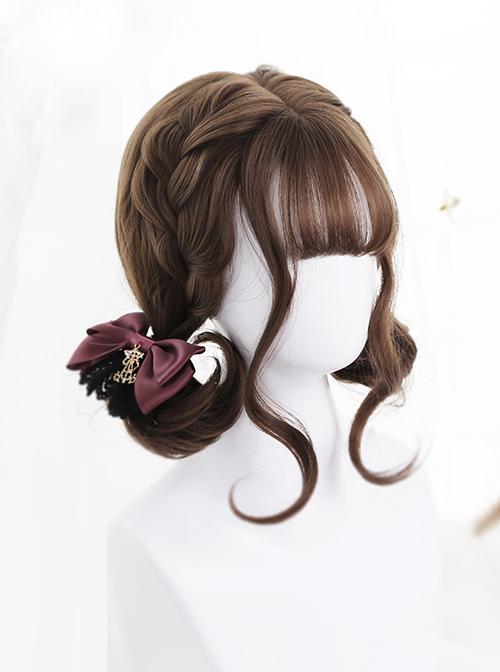 Air-bangs Cute Short Pear Flower Roll Brown Lolita Wig