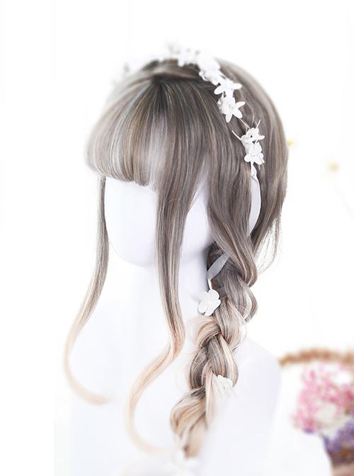 Linen Gray Gradual Change Long Curly Lolita Wig