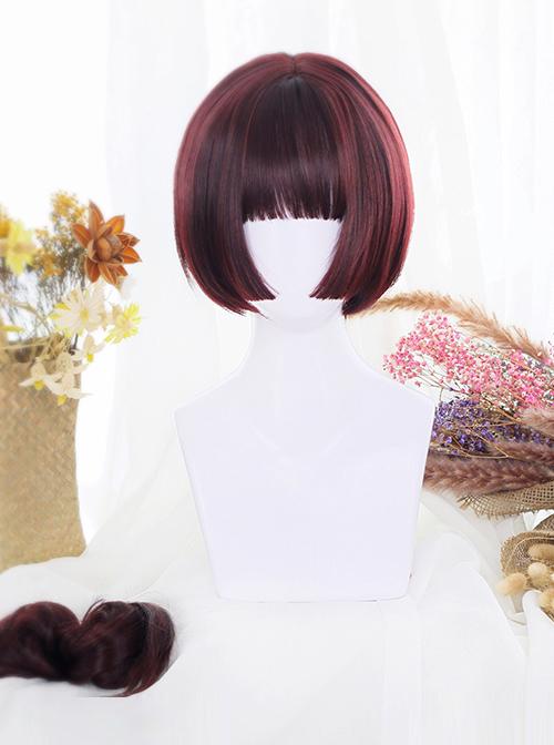 Wine Red Dual Horsetail Hime Cut Cute Lolita Wig