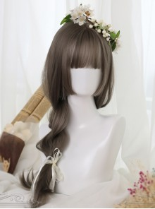 Linen Gray Long Straight Hair Hime Cut Lolita Wig