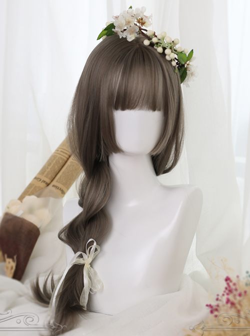 Linen Gray Long Straight Hair Hime Cut Lolita Wig