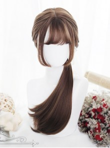 Hime Cut Long Straight Hair Light Brown Lolita Wig