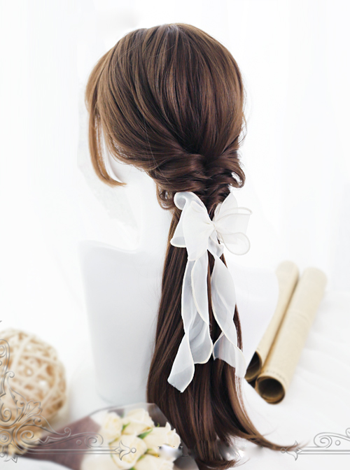 Hime Cut Long Straight Hair Light Brown Lolita Wig