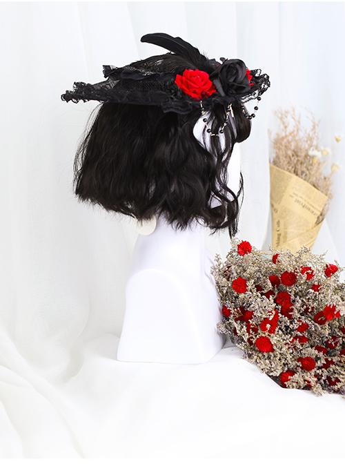 Air-bangs Egg Roll Head Natural Black Lolita Wig