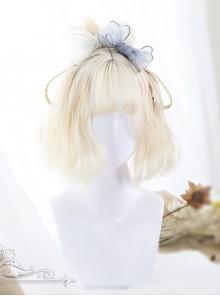 Air-bangs Milk White Short Curly Lolita Wig