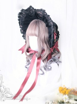 Rome Curly Inner Buckle Grey Pink Gradient Navy Blue Lolita Wig