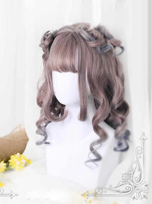 Rome Curly Inner Buckle Grey Pink Gradient Navy Blue Lolita Wig