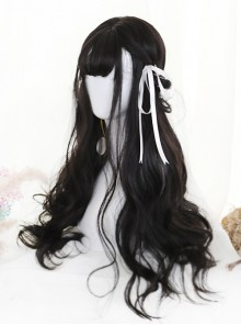 Air-bangs Natural Black Big Wavy Hair Lolita Wig