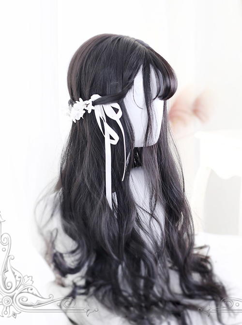 Air-bangs Natural Black Big Wavy Hair Lolita Wig