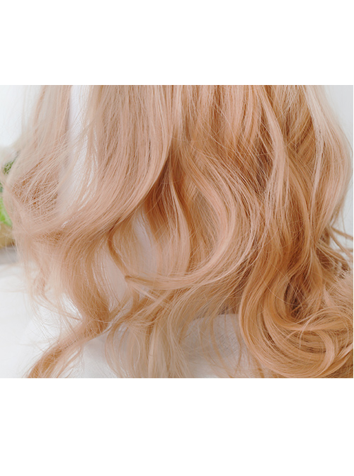 Gentle Coral Tea Big Wavy Hair Lolita Wig