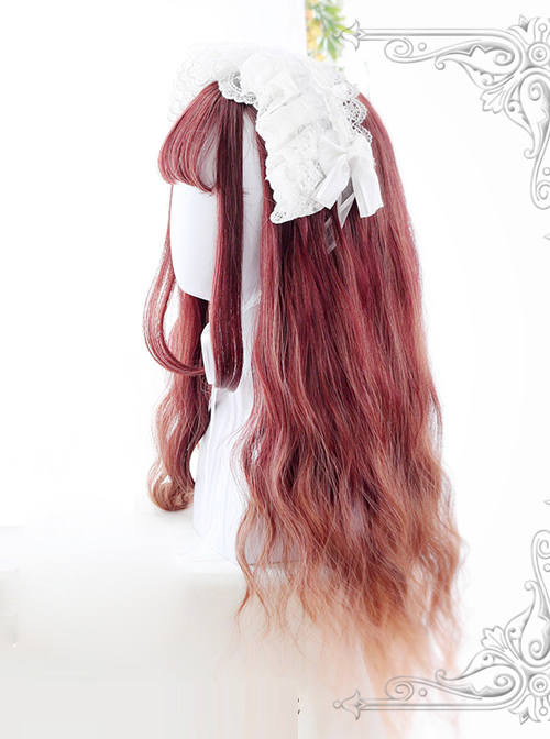 Water Wave Curly Rust Red Gradual Change Lolita Wig