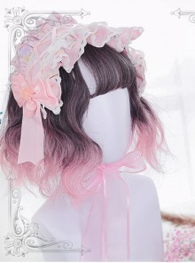 Harajuku Pink Gradual Change Short Curly Hair Lolita Wig