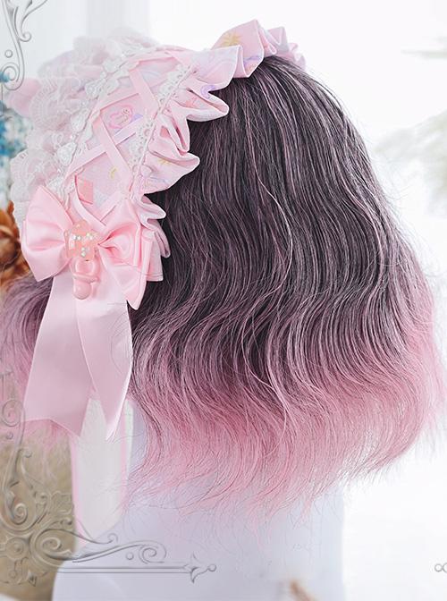 Harajuku Pink Gradual Change Short Curly Hair Lolita Wig