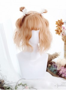 Air-bangs Orange Short Curly Hair Lolita Wig