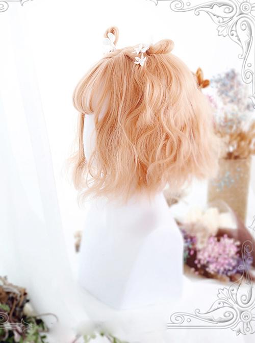 Air-bangs Orange Short Curly Hair Lolita Wig