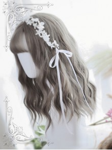 Air-bangs Gray Water Wave Curly Lolita Wig