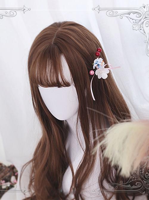 Air-bangs Big Curly Long Hair Brown Lolita Wig
