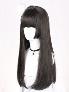 Hime Cut Long Straight Hair Lolita Black Wig