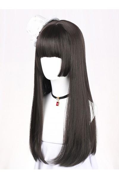 Hime Cut Long Straight Hair Lolita Black Wig