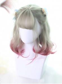 Graffiti Girl Series Cyan And Red Gradient Short Curly Hair Lolita Wigs