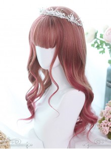 Hair-tail Pink Gradual Color Long Curly Hair Lolita Wigs