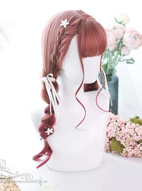 Hair-tail Pink Gradual Color Long Curly Hair Lolita Wigs