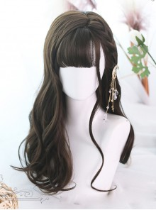 Brown Hair Bangs Long Curly Hair Classic Lolita Wigs